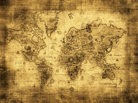 old rustic map: ancient map of the world Stock Photo