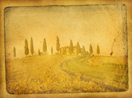 vintage postcard with classical tuscan view photo