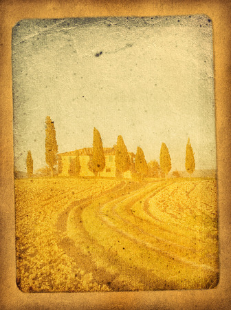 pastoral: vintage postcard with classical tuscan view Stock Photo
