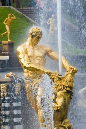 Samson and the Lion Fountain, Peterhof, Russia photo