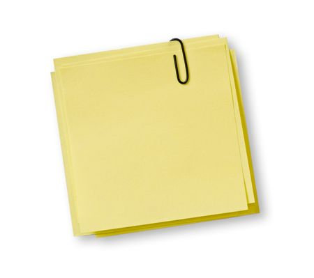 yellow notes with black clip over white background photo