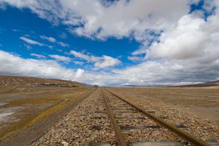 nowhere: railroad tracks to nowhere Stock Photo