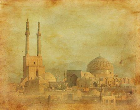 iran: vintage image of Yazd, Iran