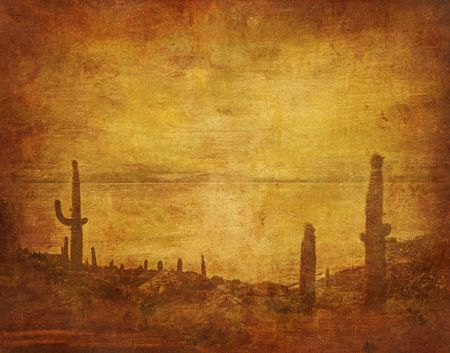 grunge background with wild west landscape photo