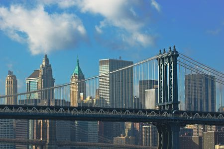 manhattan and brooklyn bridges, new york, usa photo