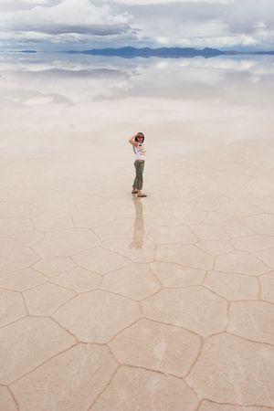 young woman staring, salar de uyuni salt lake, bolivia Stock Photo - 2641502