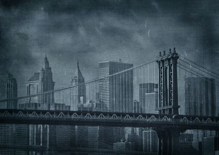 aging american: vintage grunge image of new york city