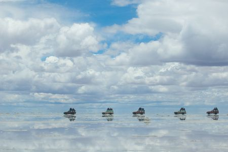 4x4 in the salt lake salar de uyuni, bolivia  photo