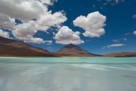laguna: mountain, reflecting in the lake, laguna verde, bolivia Stock Photo