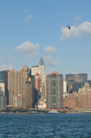 panorama of manhattan with flying helicopter Stock Photo - 2665243