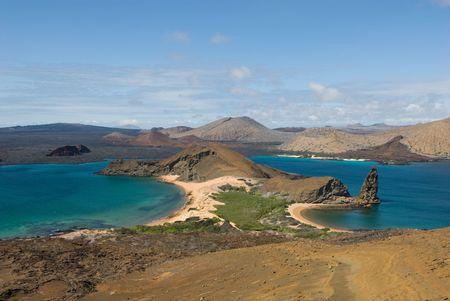 galapagos: view from the top of bartolome island, galapagos, ecuador