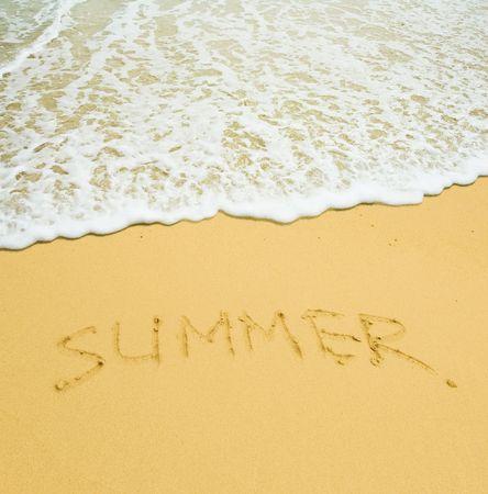 summer written in a sandy tropical beach Stock Photo - 2682981