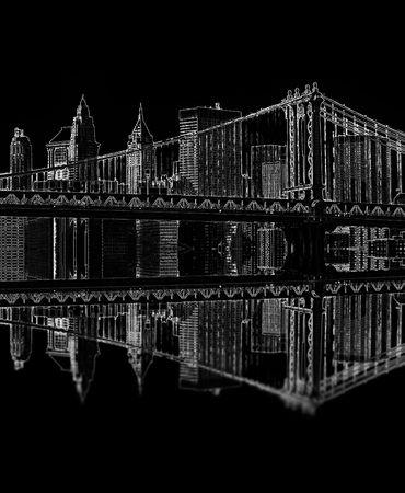 manhattan bridge: illustration of brooklyn bridge at night, new york, usa