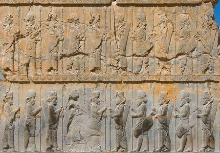 alexander great: Ancient bas-reliefs of Persepolis, Iran