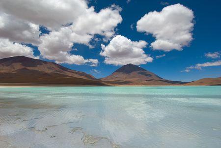 laguna: mountain, reflecting in the lake, laguna verde, bolivia Stock Photo
