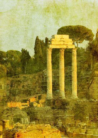 vintage image of roman ruins, rome, italy photo