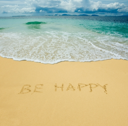 hopes: be happy written in a sandy tropical beach