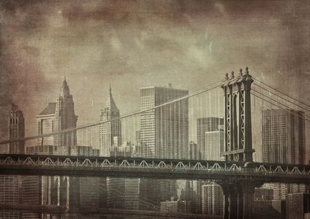 aging american: vintage grunge image of new york city