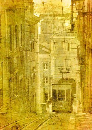 vintage image of traditional lisbon tram photo