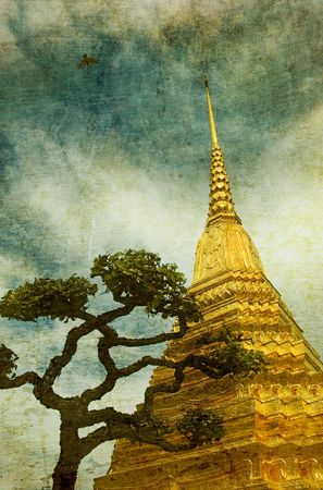 Vintage image of Golden stupa in Wat Phra Kaew, Bangkok photo
