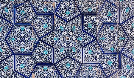 Tiled background, oriental ornaments from Uzbekistan  Stock Photo