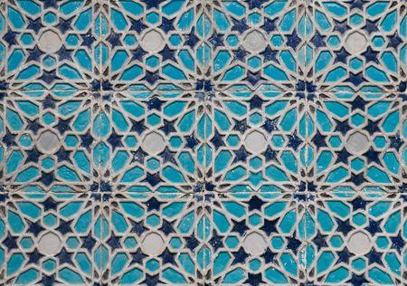 uzbekistan: Tiled background, oriental ornaments from Uzbekistan  Stock Photo