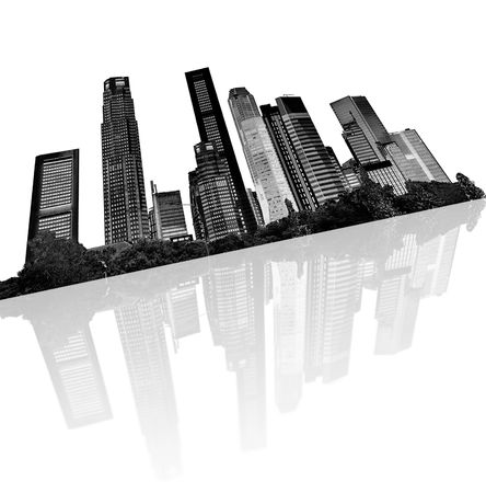 futuristic city: urban skyline - silhouettes of skyscrapers with reflection