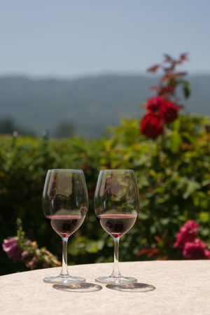 napa valley: Two glasses of red wine Stock Photo