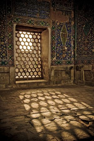uzbekistan: Architectural details of Registan, Samarkand, Uzbekistan