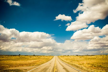 vibrant image of highway and blue sky Stock Photo - 3327581