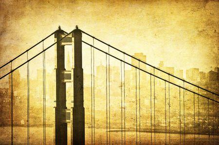 Grunge image of Golden Gate Bridge, San Francisco, California photo