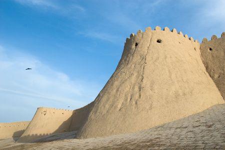 ufortyfikować: Mury antycznego miasta Khiva, Uzbekistan Zdjęcie Seryjne