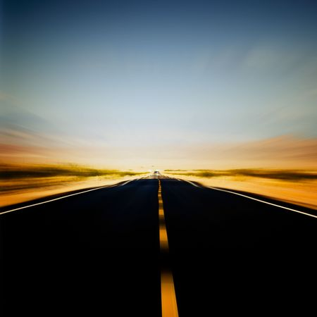 vibrant image of highway and blue sky in motion blur Stock Photo - 3396482