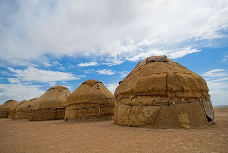 yurtas, traditional houses of asian nomades photo