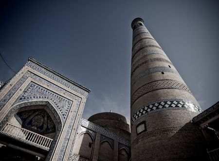 uzbekistan: Minaret in ancient city of Khiva, Uzbekistan