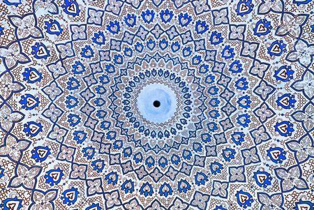 uzbekistan: Dome of the mosque, oriental ornaments from Samarkand, Uzbekistan