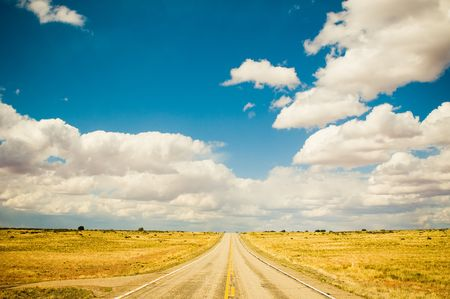 vibrant image of highway and blue sky Stock Photo - 3473603