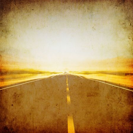 grunge image of highway and blue sky Stock Photo - 3497840