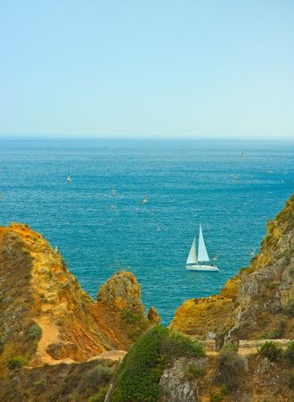 yacht sailing in portuguese waters photo