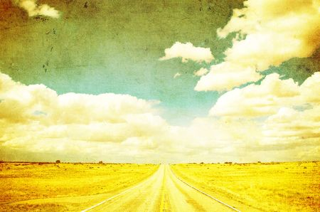 grunge image of highway and blue sky Stock Photo - 3539206