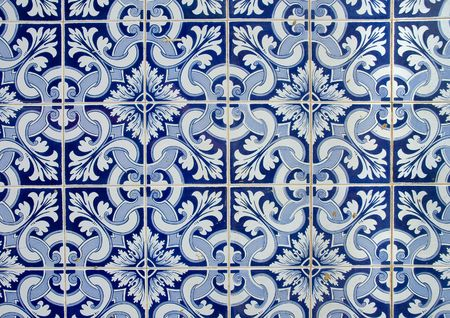 portuguese  azulejos, old tiled background  Stock Photo