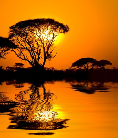 african sunset with reflection, kenya photo