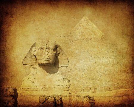 egyptian pyramids: grunge image of sphynx and pyramid Stock Photo