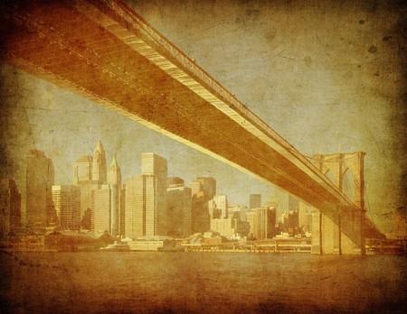 grunge image of brooklyn bridge, new york, usa Stock Photo - 3968142
