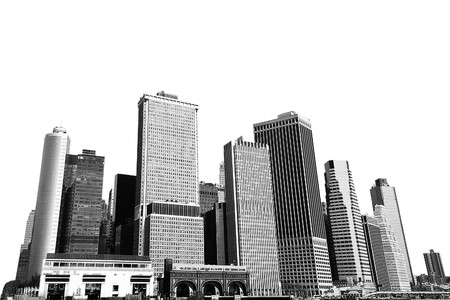 cityscape - silhouettes of skyscrapers over white background Stock Photo - 4094832