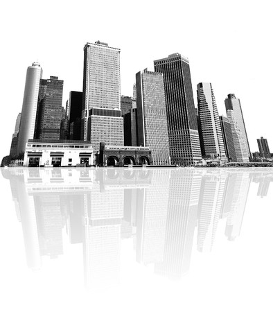 cityscape - silhouettes of skyscrapers over white background Stock Photo - 4122027