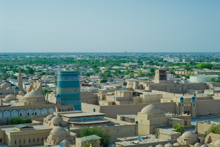 Panorama of an ancient city of Khiva, Uzbekistan photo