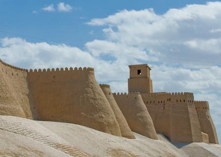 uzbekistan: Walls of an ancient city of Khiva, Uzbekistan Stock Photo