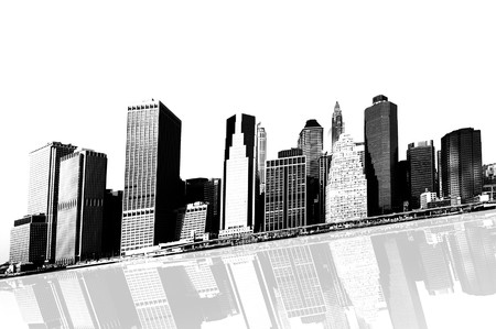 cityscape - silhouettes of skyscrapers over white background Stock Photo - 4140488