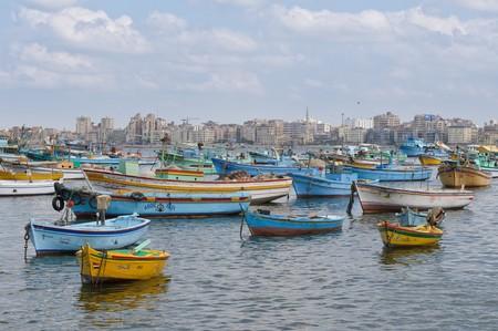 alexandria egypt: View of Alexandria harbor, Egypt